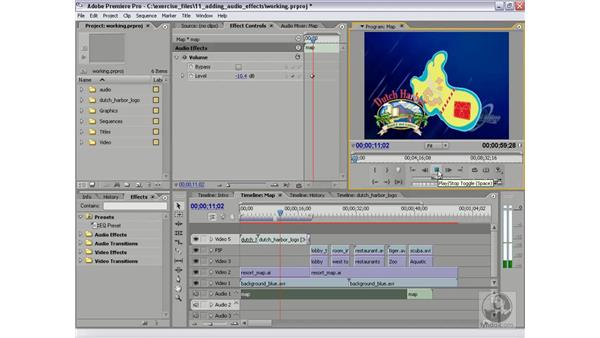 Modifying clip volume: Premiere Pro 2 Essential Training