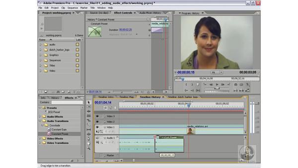 Adding audio transitions: Premiere Pro 2 Essential Training