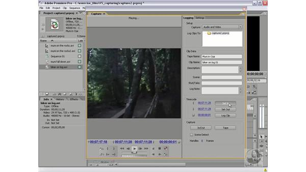 Logging clips for batch capture: Premiere Pro 2 Essential Training