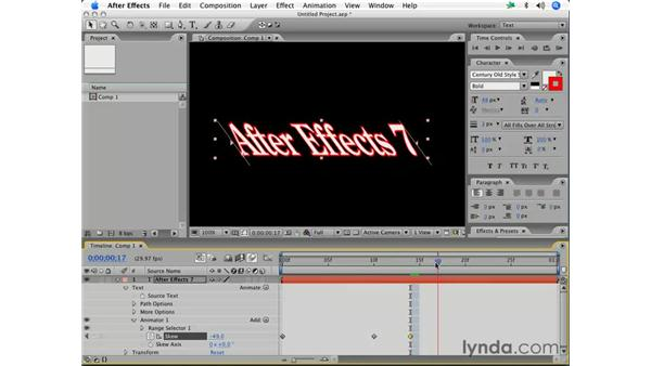 Basic text animation: After Effects 7 Essential Training