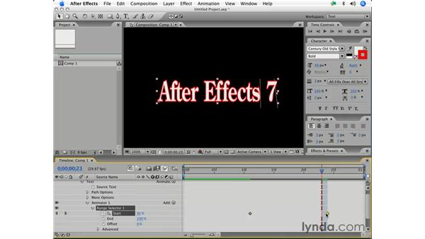 Using the Range selector: After Effects 7 Essential Training