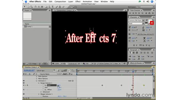Using character offset: After Effects 7 Essential Training