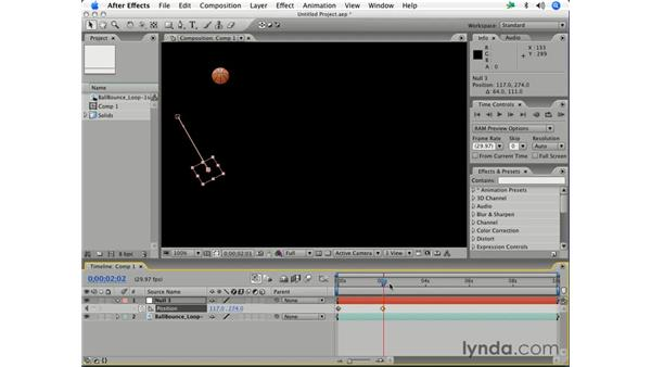 Using a null object as a parent: After Effects 7 Essential Training