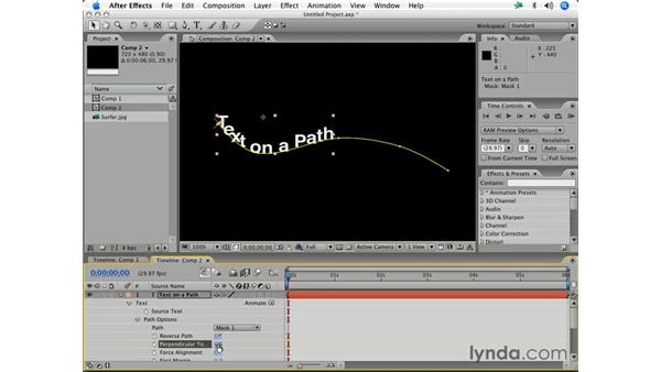 Using masks with text effects: After Effects 7 Essential Training