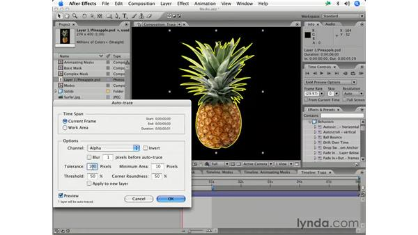 Convert an alpha channel to a mask with Auto-Trace: After Effects 7 Essential Training