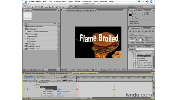 Animated text mattes with effects: After Effects 7 Essential Training