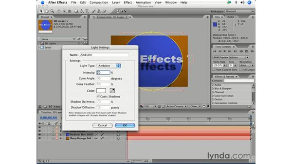 Adding lights in 3-D: After Effects 7 Essential Training