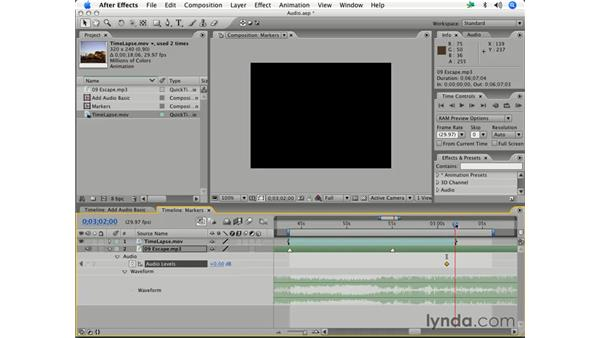 Adjusting audio levels: After Effects 7 Essential Training