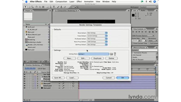 Output module and rendering templates: After Effects 7 Essential Training