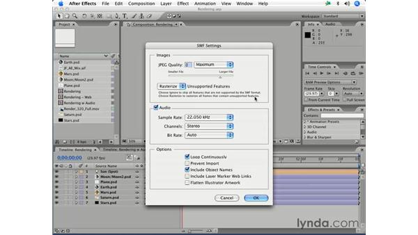 Rendering as Macromedia Flash files (.SWF and . FLV): After Effects 7 Essential Training