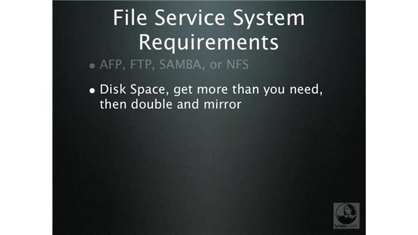 File service system requirements: Mac OS X Server 10.4 Tiger Essential Training