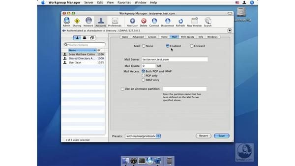 User mail settings: Mac OS X Server 10.4 Tiger Essential Training