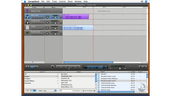 Muting and soloing tracks: Podcasting with GarageBand 3