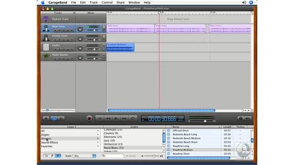 Adding loops to the timeline: Podcasting with GarageBand 3