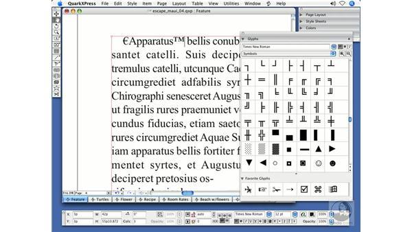 Glyphs: QuarkXPress 7 New Features