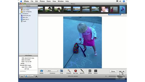 Automatic corrections with the Enhance button: iPhoto 6 Essential Training