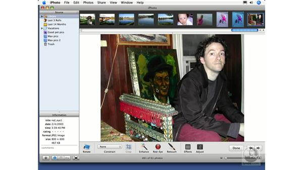Removing redeye: iPhoto 6 Essential Training