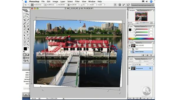 Straightening an image: iPhoto 6 Essential Training