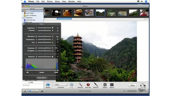 Sharpening an image: iPhoto 6 Essential Training