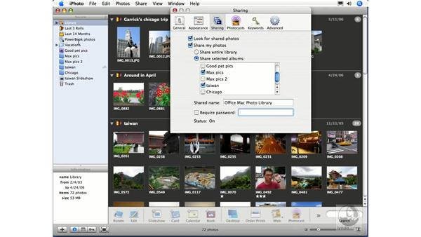 Sharing photos over a network: iPhoto 6 Essential Training