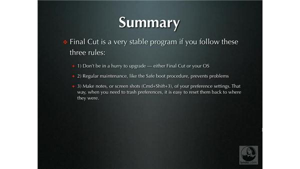 Rules to live by: Final Cut Pro Optimization and Troubleshooting