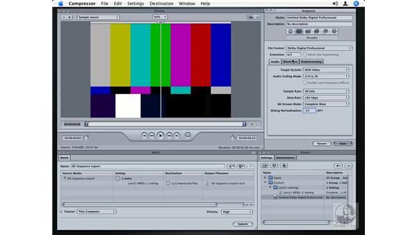 Creating an AC3 audio preset: Compressor 2.1 Essential Training