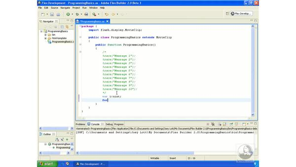 Looping statements: ActionScript 3.0 in Flex Builder 2.0 Essential Training