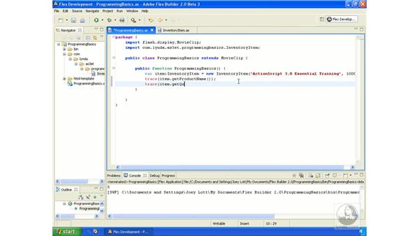 Writing a simple class: ActionScript 3.0 in Flex Builder 2.0 Essential Training