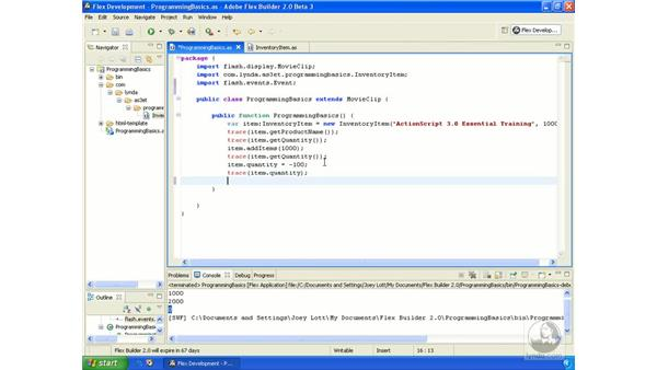 Working with events: ActionScript 3.0 in Flex Builder 2.0 Essential Training