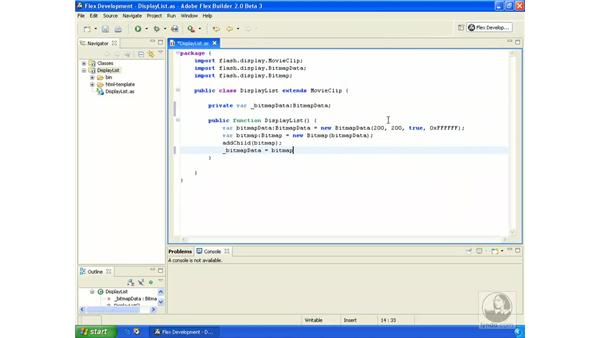 Working with bitmaps: ActionScript 3.0 in Flex Builder 2.0 Essential Training