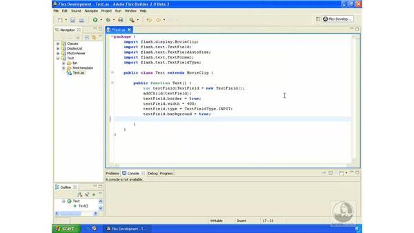 Input text: ActionScript 3.0 in Flex Builder 2.0 Essential Training