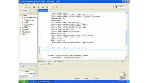 Scrubbing audio: ActionScript 3.0 in Flex Builder 2.0 Essential Training