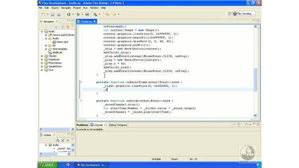 Reading sound levels: ActionScript 3.0 in Flex Builder 2.0 Essential Training