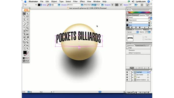 Text that follows the contour of a sphere: Illustrator CS2 Creative Techniques