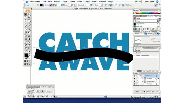 Subtracting shapes from text: Illustrator CS2 Creative Techniques