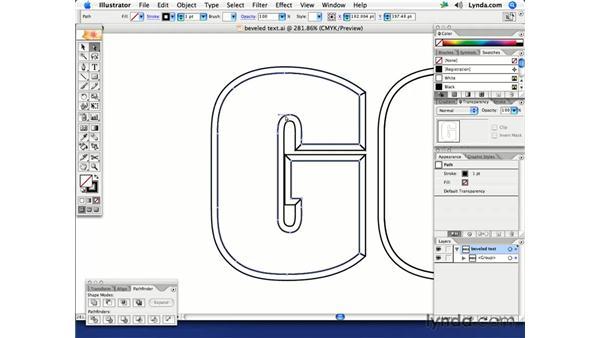 Beveled text: Illustrator CS2 Creative Techniques
