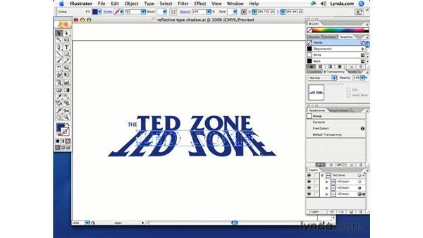 Reflective type shadow: Illustrator CS2 Creative Techniques