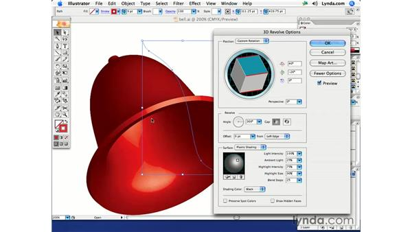Extrusion: From curve to bell: Illustrator CS2 Creative Techniques