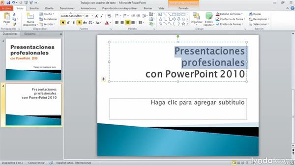 inserción de cuadros de texto en una presentación