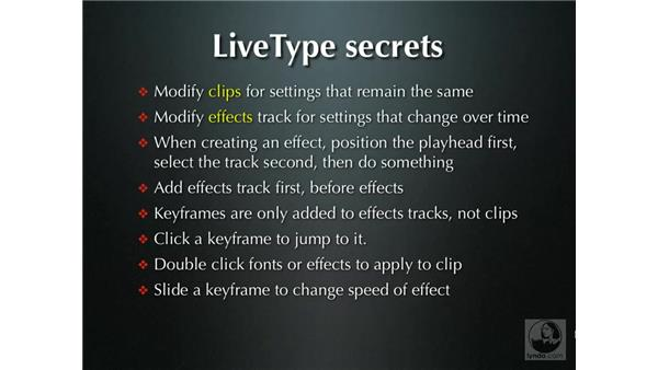 LiveType secrets and keyboard shortcuts: LiveType 2 Essential Training