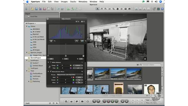 Converting color images to grayscale: Aperture 1.1 Essential Training