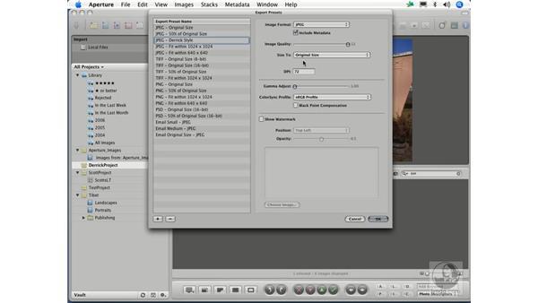 Exporting versions: Aperture 1.1 Essential Training