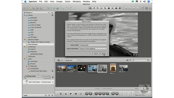Restoring from a vault: Aperture 1.1 Essential Training
