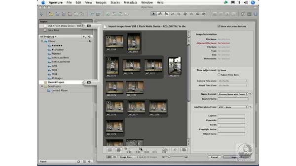 Importing images from a digital camera: Aperture 1.1 Essential Training