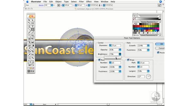 Using the flare tool: Illustrator CS2 Power Shortcuts