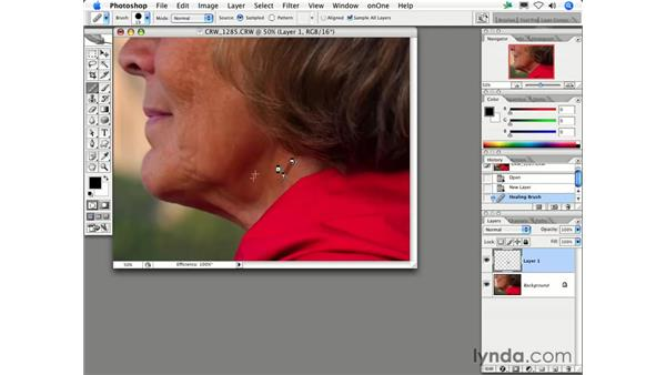 How do I get the Clone Stamp or Healing Brush results on a separate layer?: Photoshop CS2 FAQs