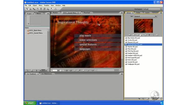 Changing menus using the Library panel: Encore DVD 2.0 Essential Training