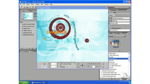 Motion menus and Video buttons: Encore DVD 2.0 Essential Training
