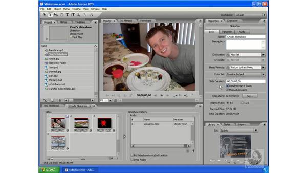 Advanced slideshow tricks: Encore DVD 2.0 Essential Training