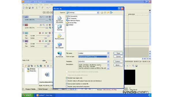 Rendering video for DVD-ROM: Vegas 6 Essential Training
